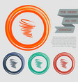tornado icon on the red blue green orange buttons vector image