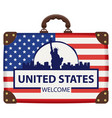 travel bag with flag of usa and statue of liberty vector image vector image