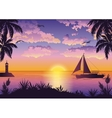 Tropical Sea Landscape with Palm and Ship vector image