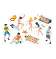 vacation people summer characters in swimsuits vector image vector image