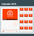 wall calendar for 2019 year set of 12 months vector image vector image