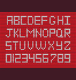 white knitted alphabet and numerals on red knitted vector image