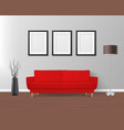 3d realistic render red sofa couch with vector image vector image