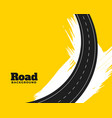 abstract winding road on yellow background design vector image vector image