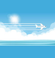aircraft in the sky and sun vector image