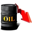 barrel of oil and the falling prices vector image vector image