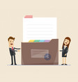 bsiness man and business woman standing with big vector image vector image