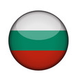 bulgaria flag in glossy round button of icon vector image vector image
