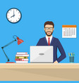 business man sitting desk working laptop vector image