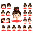 cartoon beautiful girl emotions collection vector image