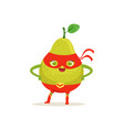 cartoon character of superhero pear with arms vector image vector image