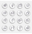 cinema line icons on round white stickers with vector image vector image