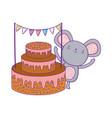 cute and little mouse with sweet cake vector image vector image