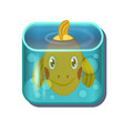 cute cartoon gold fish in square aquarium vector image vector image