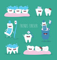 cute tooth and dental floss flat design vector image vector image