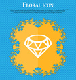 Diamond Icon sign Floral flat design on a blue vector image vector image