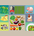 different types of food products in the farm vector image vector image