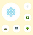 flat icons sun power conservation winter snow vector image vector image