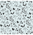 floral seamless pattern with leaves birds vector image