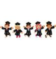 funny graduation boy and girl cartoon vector image vector image
