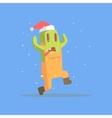 Green Featureless Monster In Dungarees Running In vector image vector image