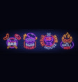 grill is a set neon-style logos vector image