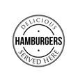 hamburgers vintage stamp black logo vector image vector image