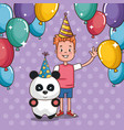happy birthday card with little boy vector image vector image