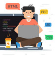 happy programmer on the computer with coffee vector image
