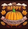 happy thanksgiving day poster with pumpkin vector image