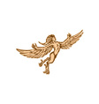 Harpy Flying Front Etching vector image vector image