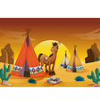 horse and tent house vector image vector image