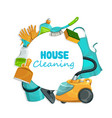 house cleaning tools equipment and detergent vector image vector image