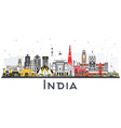 india city skyline with color buildings isolated vector image vector image