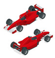 isometric red sport car or formula 1 car flat 3d