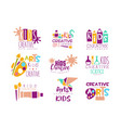 Kids creative class template promotional logo set vector