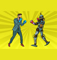 man boxing with a robot vector image vector image