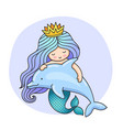 mermaid with wavy long blue hair and dolphin vector image vector image