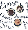 names of drinks and coffee vector image vector image