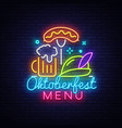neon poster to oktoberfest festival vector image vector image
