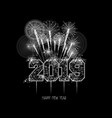 new years 2019 polygonal line and fireworks vector image vector image