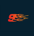 number 9 fire flame logo speed race design vector image vector image