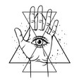open hand with all seeing eye symbol vector image vector image