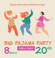 pajama party with three funny cartoon girls vector image vector image