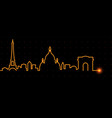 paris light streak skyline vector image vector image