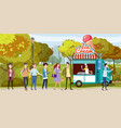 park cart and ice cream seller track happy vector image vector image