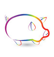rainbow pig outline icon vector image vector image