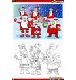 santa claus christmas characters group coloring vector image vector image