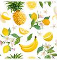 seamless fruit pattern lemon banana pineapple vector image vector image