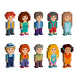 set of cute pixel art style isometric characters vector image vector image